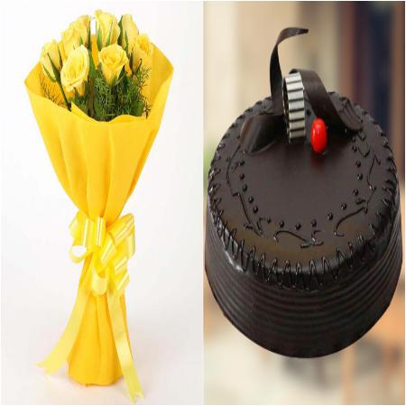 500gm Truffle Cake and 8 Yellow Roses