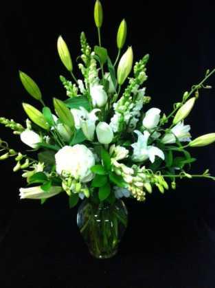 White Roses Lilium Vase