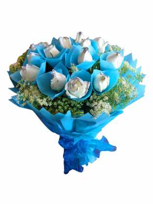 White rose with blue covering
