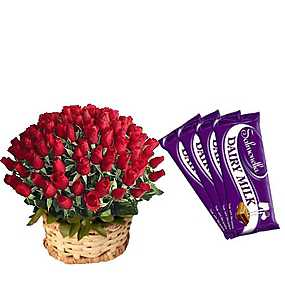 50 Roses Basket, 5 Dairy Milk Chocolates