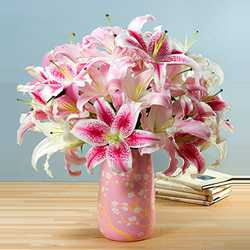 Pink Lillies in Pink Vase