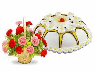 Carnations Basket and Pineapple Cake
