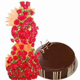 100 Red Roses tall basket with chocolate truffle cake