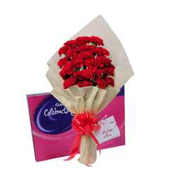 Carnations Bunch with Cadbury Celebration Chocolate Box