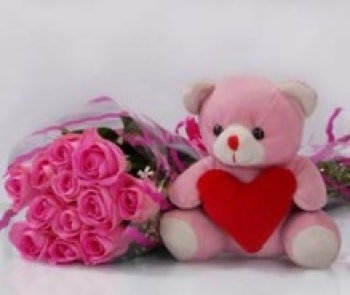 Pink Roses with Pink Teddy