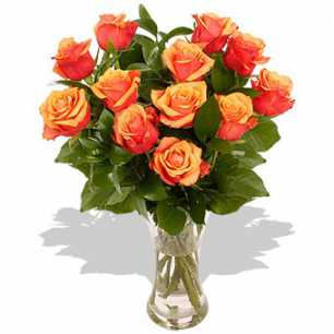 Orange Roses Vase Arrangement