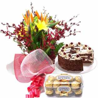 Exotic Flowers Cake Chocolate