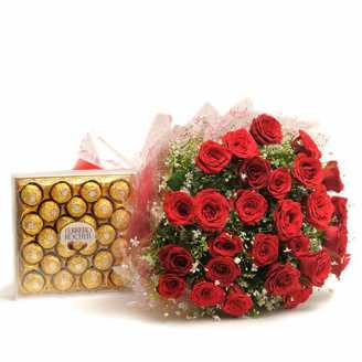 30 Red Roses 24 Ferrero Rocher