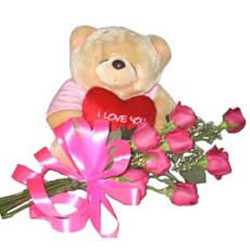 6 Inch Teddy 12 Pink Roses