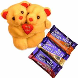 Twin Teddy and Dairy Milk Chocolates