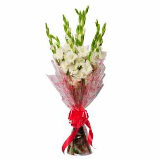 10 White Gladiolus Bunch