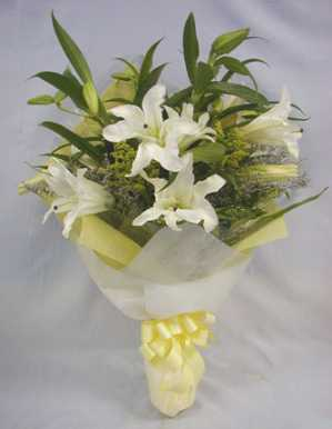 5 White Lilium Bunch