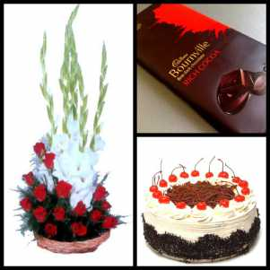 Flowers Basket, Cake & Bournvile Chocolate
