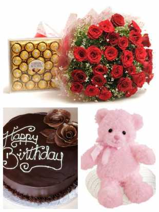 30 Red roses bouquet, 1 kg chocolate truffle cake, 1 teddy and 24 pcs Ferrero Rocher chocolate