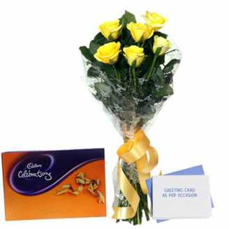 Yellow Roses Cadbury Celebration Box