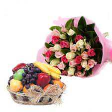 Fruit Basket & Mix Color Roses Bunch