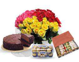 Multi Colour Roses Sweets Cake and Chocolates