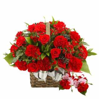 Red Flowers Basket