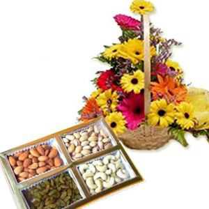 Gerbera Basket with Dryfruit