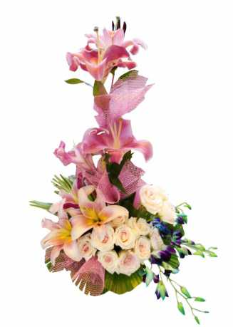 stylish basket of lilies, rose & orchids