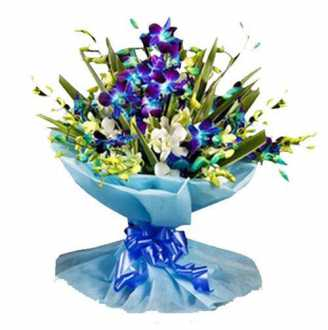 6 Blue Orchids Bouquet
