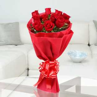 10 Red Roses in Red Paper Packing