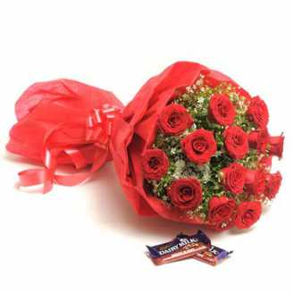 20 Red Roses in Red Paper Packing with 2 Fruit and Nut Chocolates