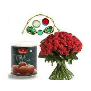 Rakhi Gulab Jamun N Flowers C1130