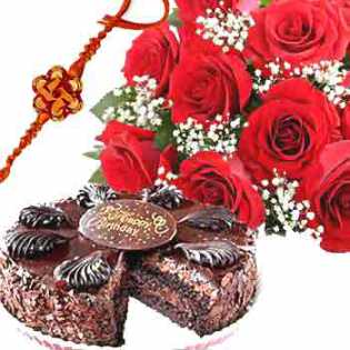 Rakhi Pack with Cake and Roses C1083