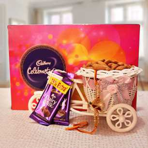 Rakhi with Cadbury Celebration Box & 100gm Badam in Bicycle and 2 Dairy Milk Chocolates