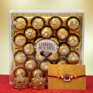 Rakhi with Swiss Chocolate Box