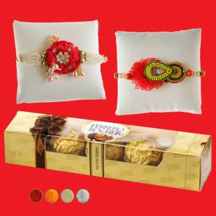 2 Rakhis with 5 Pcs Ferrero Chocolate Box
