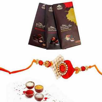3 Bournville Chocolates bar with Designer Rakhi