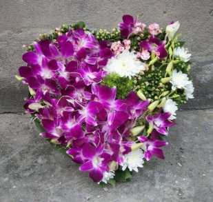 orchid heart shape arrangement