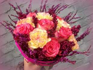pink roses & yellow carnations bouquet