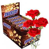 Red Carnations Bunch and Snickers Box