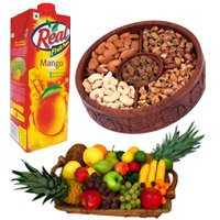 1 Kg Real Juice with 2 Kg Fresh Fruits Basket with 1 Kg Mix Dry Fruits