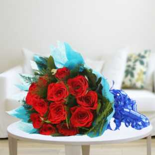 10 Red Roses in Blue Paper Packing