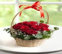 10 red rose round basket Delhi