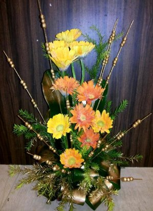 12 Orange and Yellow Gerbera Basket
