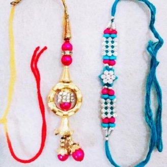 Blue Stone Rakhi and Golden Lumba