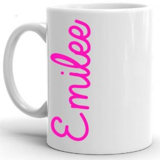 White Mug with Pink Words