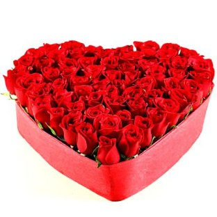 65 Red Roses Valentine Heart Shape Arrangement