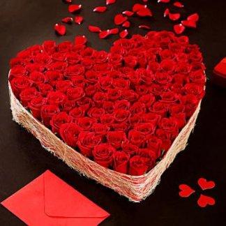 Big Beautiful 100 Red Roses Heart Arrangement
